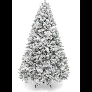 6 Foot Flocked Christmas Tree with Metal Stand New
